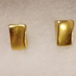 Vintage Gold plated Nugget Clip on Earrings